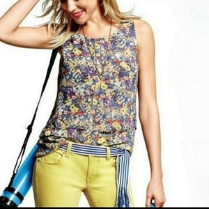 Cabi Positano Sleeveless Floral Watercolor Blouse